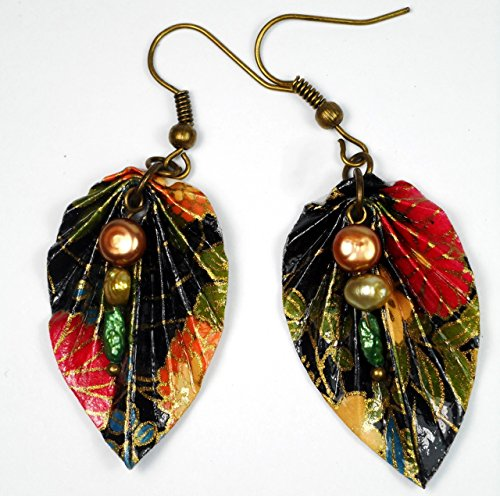 Paper Origami Leaf Lightweight Earrings, Black Red & Green w/ 3 Glass Pearls, 1st Annivesary Gift