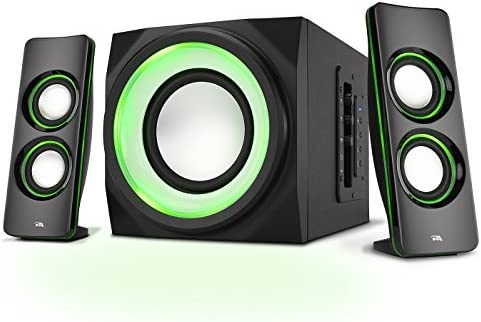 Amazon Com Cyber Acoustics Bluetooth Speakers With Led Lights The Perfect Gaming Movie Party Multimedia 2 1 Subwoofer Speaker System Ca Sp34bt Electronics