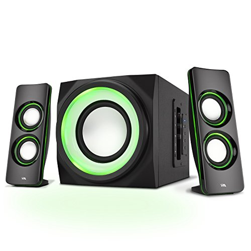 Cyber Acoustics Bluetooth Speakers with LED Lights – The Perfect Gaming, Movie, Party, Multimedia 2.1 Subwoofer Speaker System (CA-SP34BT) (System Speaker Personal Audio)