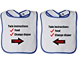 Instructions: Feed Change Diaper Repeat Infant Contrast Trim Terry Bib White/Black