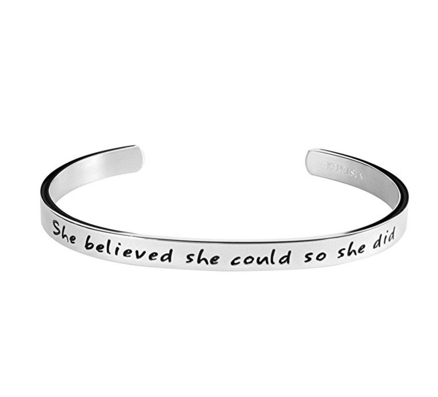 ''She believe she could so she did'' Inspirational Bracelet Cuff Bangle ( Silver tone standard size)