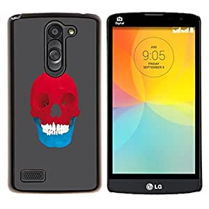 LECELL--Funda protectora / Cubierta / Piel For LG L Bello L Prime -- Red & Blue Skull - Pop Art --