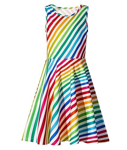 Idgreatim Girl Print Summer Dress Sleeveless Casual Rainbow Sundress for Party 8-9T