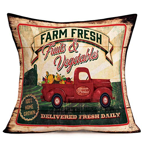 Asamour Vintage Throw Pillow Covers Red Truck and Farm Fresh Fruits Vegetables Quotes Cotton Linen Throw Pillow Case Decorative Cushion Cover Vintage Farmhouse Decor 18''x18'',Delivered Fresh Daily