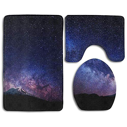 YICHIBAOEL Galaxy Space Non-Slip Bath Mat Set 3 Piece Bathroom Mat Set Includes Bathroom Mat Contour Rug Lid Toilet Cover ()
