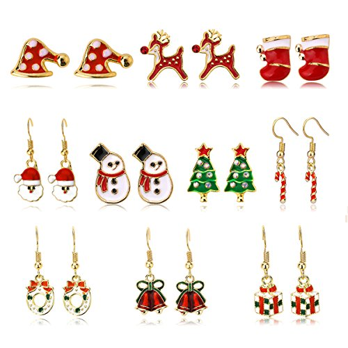 Kids Christmas Stud Earring Set - 10 Pairs Hypoallergenic Christmas Gifts Holiday Festive Jewelry for Women Teens Girls Cute Dangle Earrings