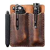 EDC Leather Pocket Organizer, Pocket Slip, Pocket Knife Pouch, EDC Carrier, with Pen Loop, Everyday Carry Organizers, Full Grain Leather. Chestnut.