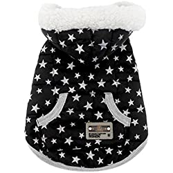 SMALLLEE_LUCKY_STORE Pet Clothes for Small Dog Cat Fleece Lined Winter Vest Coat Jacket Hooded Costume Clothing Black Stars XL