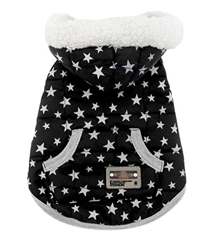 [SMALLLEE_LUCKY_STORE Pet Clothes for Small Dog Cat Fleece Lined Winter Vest Coat Jacket Hooded Costume Clothing Black Stars] (Pomeranian Costume)