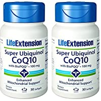 Life Extension Super Ubiquinol CoQ10 with Enhanced Mitochondrial Support 100 mg, 60 softgels (2 Pack)