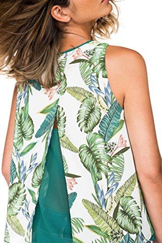 Salsa - Top deux couches avec motif feuilles tropicales - Femme