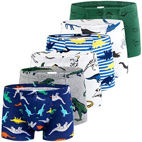Auranso Toddler Little Boys Cotton Boxer Briefs Underwear Dinosaur Car 5/6 Pack 2-11Y