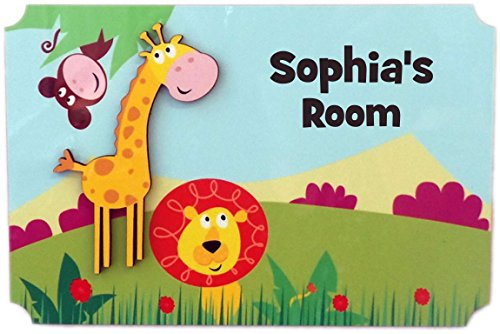 (Rikki Knight Sophia's Room - 3D Giraffe on Jungle - Door Sign Plaque with Name for Children and Baby's Bedroom)