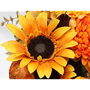 Admired By Nature 18 Stems Artificial Sunflower, Mum And Zinna Mixed Flowers Bush For Home Office, Wedding, Restaurant Decoration Arrangement, Gold/Orange Mix 2