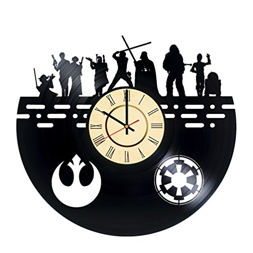 Star Wars Characters Vinyl Record Wall Clock - Get unique Home Room wall decor - Gift ideas for friends, men and women - Unique Modern Film Fan Art