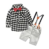 Boys 2Pcs Long Sleeve Plaid Casual Shirt Short Jeans Set With Suspender Straps(7T, Black)