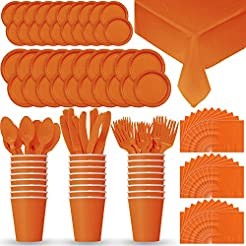 Disposable Paper Dinnerware for 24 - Pumpkin Orange - 2 Size plates Cups Napkins  sc 1 st  Amazon.com & Amazon.com: Orange - Dinner Plates / Plates: Home u0026 Kitchen