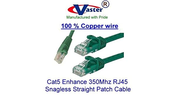 100/% Copper SuperEcable 10 PCS//Pack Ethernet Network Patch Cable 25 Ft Cat5e Black Color