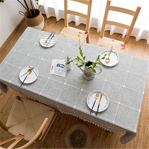 lym1108 Square Lattice Embroidered Tablecloth Solid Color Cotton Linen Tassel Rectangular Coffee Table Table Towel B-10 140220Cm
