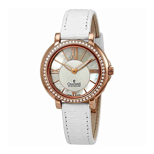 Charmex Malibu Crystal White Dial White Leather Ladies Watch 6415