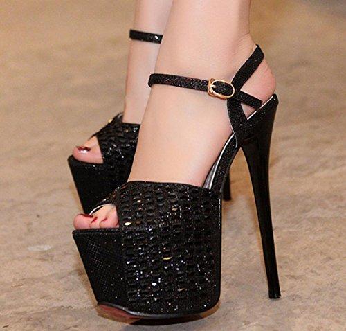 CYGG Ladies High Heels La nueva Europa y América Plataforma impermeable Nightclub Diamond Stiletto Sexy Sandals High Heels black