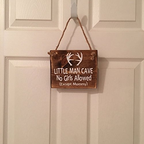 Little Man Cave No Girls Allowed Except Mommy | Antler | Woodsy Nursery | Door Sign by Millies Attic (Image #2)