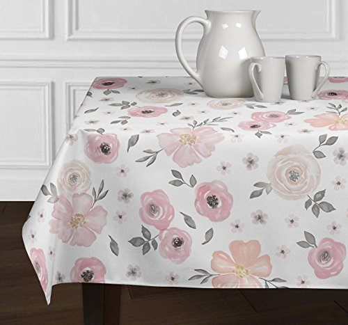 A LuxeHome Blush Pink, Grey and White Shabby Chic Watercolor Rose Floral Tablecloths Dining Room Kitchen Square 60
