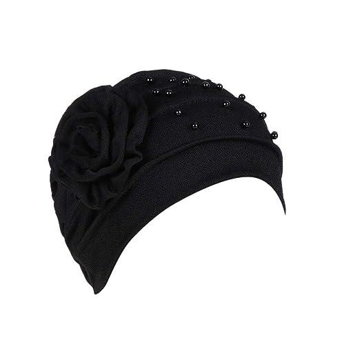 Gessppo Women Winter Head Cap Beading Floral India Hat Ruffle Cancer ... 5a3cb827139
