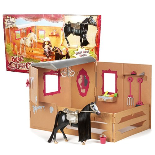 MGA Entertainment Bratz Cowgirlz Series Horse Stable Playset with Main Stable Unit, Addtional Wall, 2 Fence Section, Feed Box, Chandelier, 5 Lamps, 1 Pair of Scissors, Bucket, Grooming Brush, Pitch (Light Chandelier Brush)
