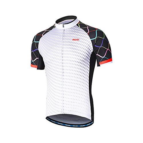 21625025e ARSUXEO Men s Cycling Jersey Short Sleeves Mountain Bike Shirt MTB Top  Zipper Pockets Reflective ZY846 XL