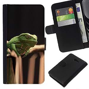 KLONGSHOP // Tirón de la caja Cartera de cuero con ranuras para tarjetas - Bosque Naturaleza Negro Verde - Sony Xperia M2 //