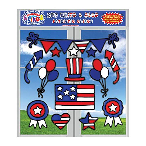 Fun Reusable Window - 4th of July Glass Window Gel Clings (23 pc) for Kids and Adults - Independence Day, USA, American Flag, Ribbon - Wall and Window Clings - Reusable and Removable Fun Home, Airplane, Classroom, Nursery