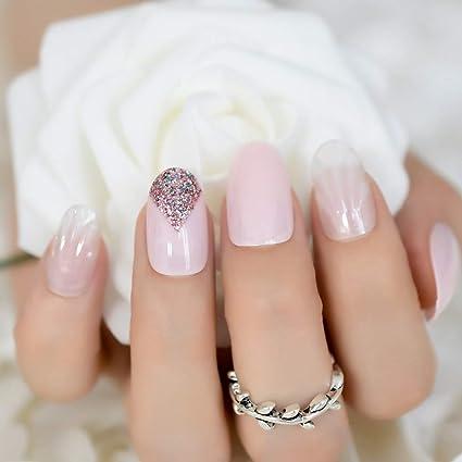 EchiQ - uñas postizas de jade blanco 3D, uñas falsas, uñas falsas de color