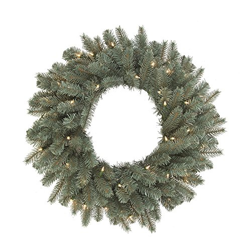 Vickerman A164826LED LED Colorado Blue Battery Box White Wire Wreath with Warm White or Multi Lights - 24 in.