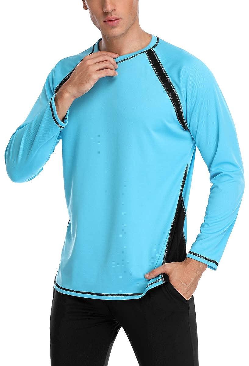 belamo Mens UPF 50 Rash Guard Long Sleeve Swim tee Surfing Shirt Sun Shirt