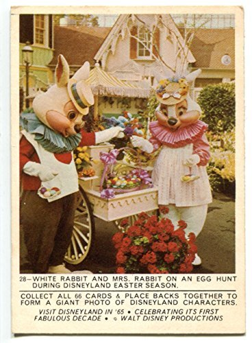 - 1965 Donruss Disney Disneyland #28 White Rabbit and Mrs Rabbit on a Egg Hunt During Easter Season Puzzle Back Trading Card