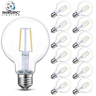 12 Pack Dimmable G25 Edison LED Globe Light Bulbs, 60W Equivalent (5W), 2700K Soft White, E26 Base, Vintage Filament Vanity Bathroom Light Bulbs, UL Listed
