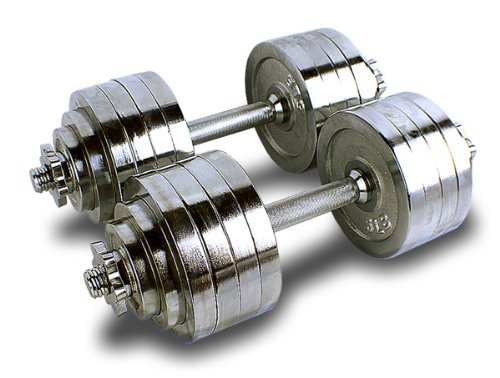 One Pair of Adjustable Dumbbells Chrome Plated Metal Total 200 Lbs (2 X 100 Lbs)