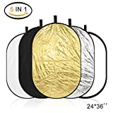ESDDI Reflector Photography 24x36inch 5 in 1 Portable Collapsible Multi-Disc Light Reflector with Bag, Silver, Gold, White, Translucent and Black for Studio or any Photography Situation
