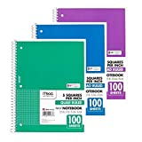 Mead Spiral Quad Ruled Notebook, 1 subject 5 squares per inch 100 Sheets, 3 Pack