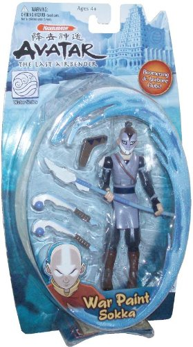Avatar The Last Air Bender Water Series 6 Inch Tall Action Figure - War Paint Sokka with Bone Spear, Boomerang with Sheath and Dual Jawbone Clubs