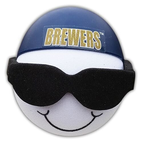Brewers Cool Backwards Baseball Hat Sunglasses Car Antenna Topper + Yellow Smiley Antenna Topper