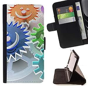 For Samsung Galaxy Core Prime / SM-G360,S-type Resumen Smiley- Dibujo PU billetera de cuero Funda Case Caso de la piel de la bolsa protectora