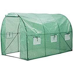 "Finether Walk in Greenhouse with Clear Cover| Portable Green House with 6 Mesh PE Cover for Indoor Outdoor Plants Herb Flower Garden Balcony, Arched,56""x30""x76"""