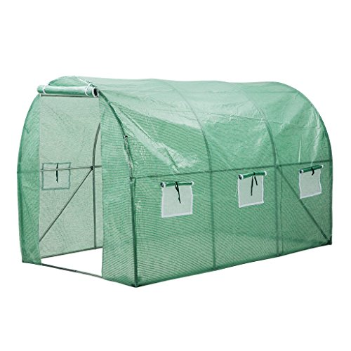 Finether Walk in Greenhouse with Clear Cover| Portable Green House with 6 Mesh PE Cover for Indoor Outdoor Plants Herb Flower Garden Balcony, Arched,56''x30''x76'' by Finether