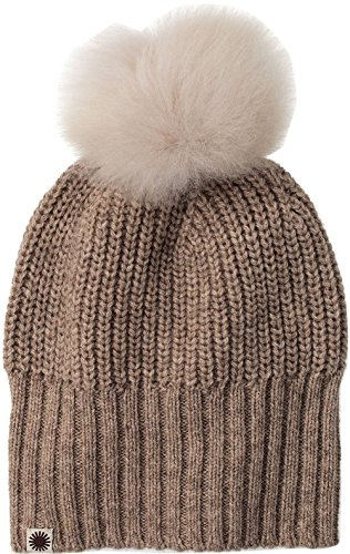 UGG Womens Beanie With Fur Pom in Oatmeal Heather Multi (Trapper Pom)