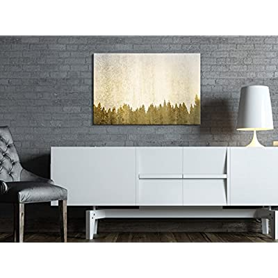Canvas Print Wall Art - Abstract Golden Forest - Gallery Wrap Modern Home Art | Ready to Hang - 32