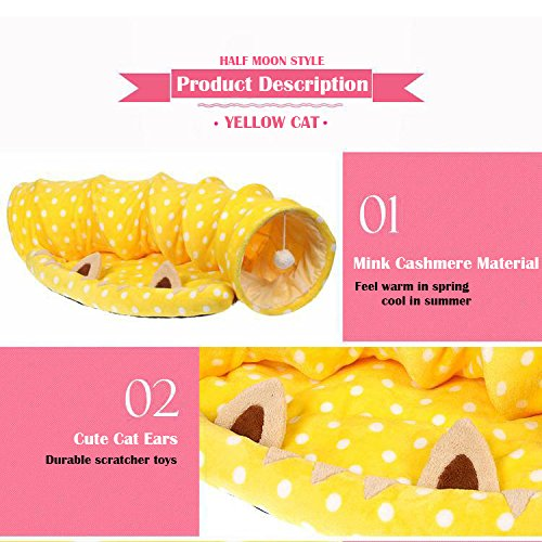 LukPaw Cat Toy Soft Pet Bed Kitten Tunnel Portable Tube Collapsible Cat Scratcher Collapsible Toy Dangling Balls (Yellow)