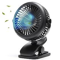 USB扇風機 卓上扇風機 クリップ 小型 超静音 強力 風量3段階調節 首振り 360度回転 2way給電 超薄3枚羽根 ミニ扇風機 usb充電式【2018年最新版】 (ブラック)