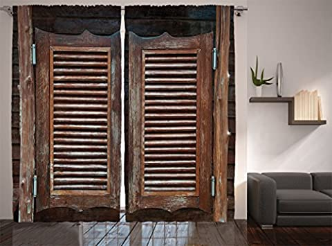 Ambesonne Western Decor Collection, Rustic Wild West Swinging Wooden Cowboy Bar Saloon Door Image, Window Treatments, Living Room Bedroom Curtain 2 Panels Set, 108 X 84 Inches, Brown Peru